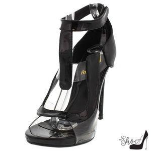 The Shoe Loft Shoes - Amanda Black Patent Leather &Lucite Open Toe Heels